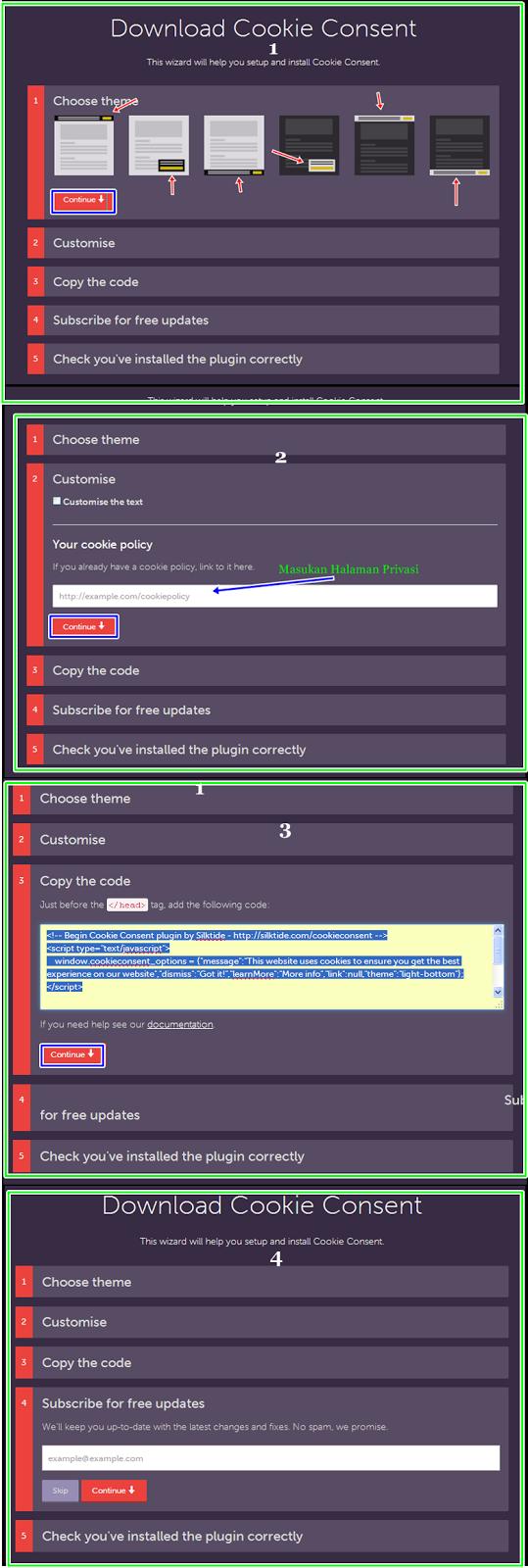 Petunjuk Meletakkan Kode Skrip Pemberitahuan and Menampilkan Google Cookies