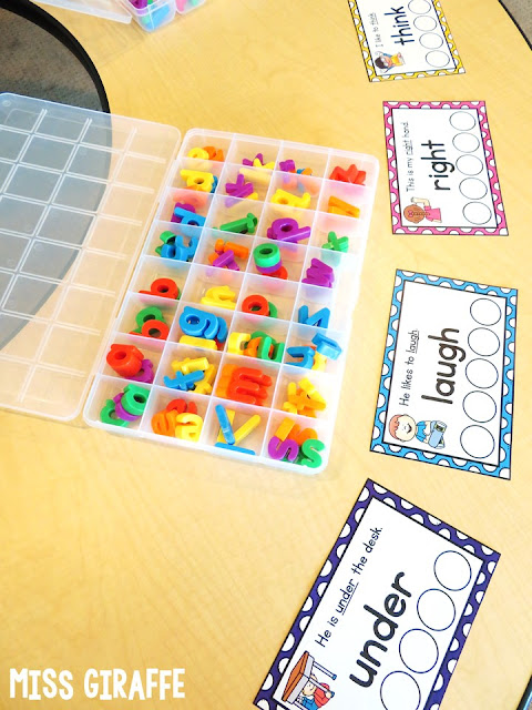 Sight words small groups lesson - put a sight words sentence card in front of each kids' spot and have them read it, build it, then pass... so much fun for learning sight words in first grade and kindergarten!