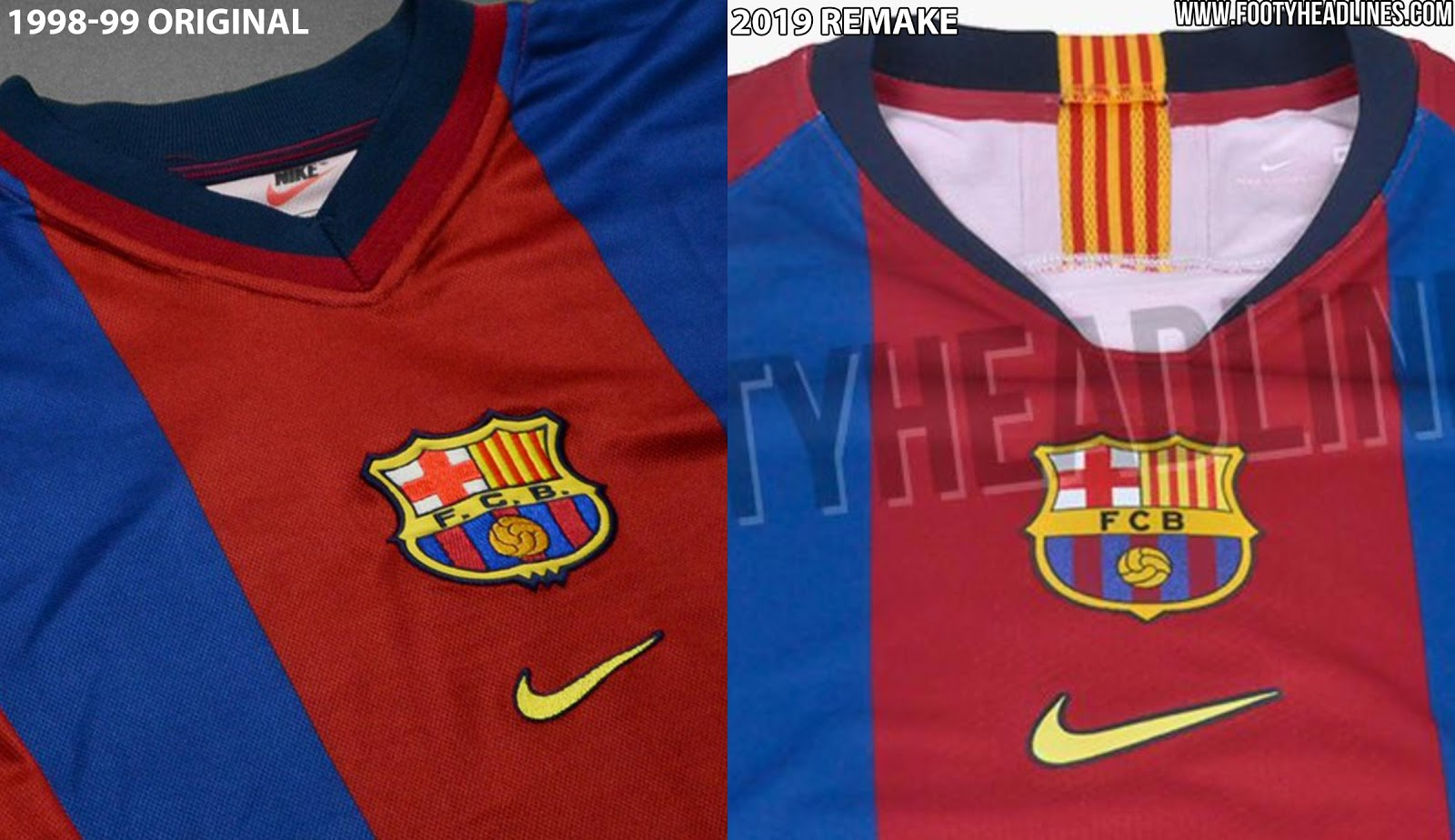 ffdac75b The second remarkable difference is the Barca logo - the classic comes with  the 1998-99 one, while the remake features the current Barca crest.