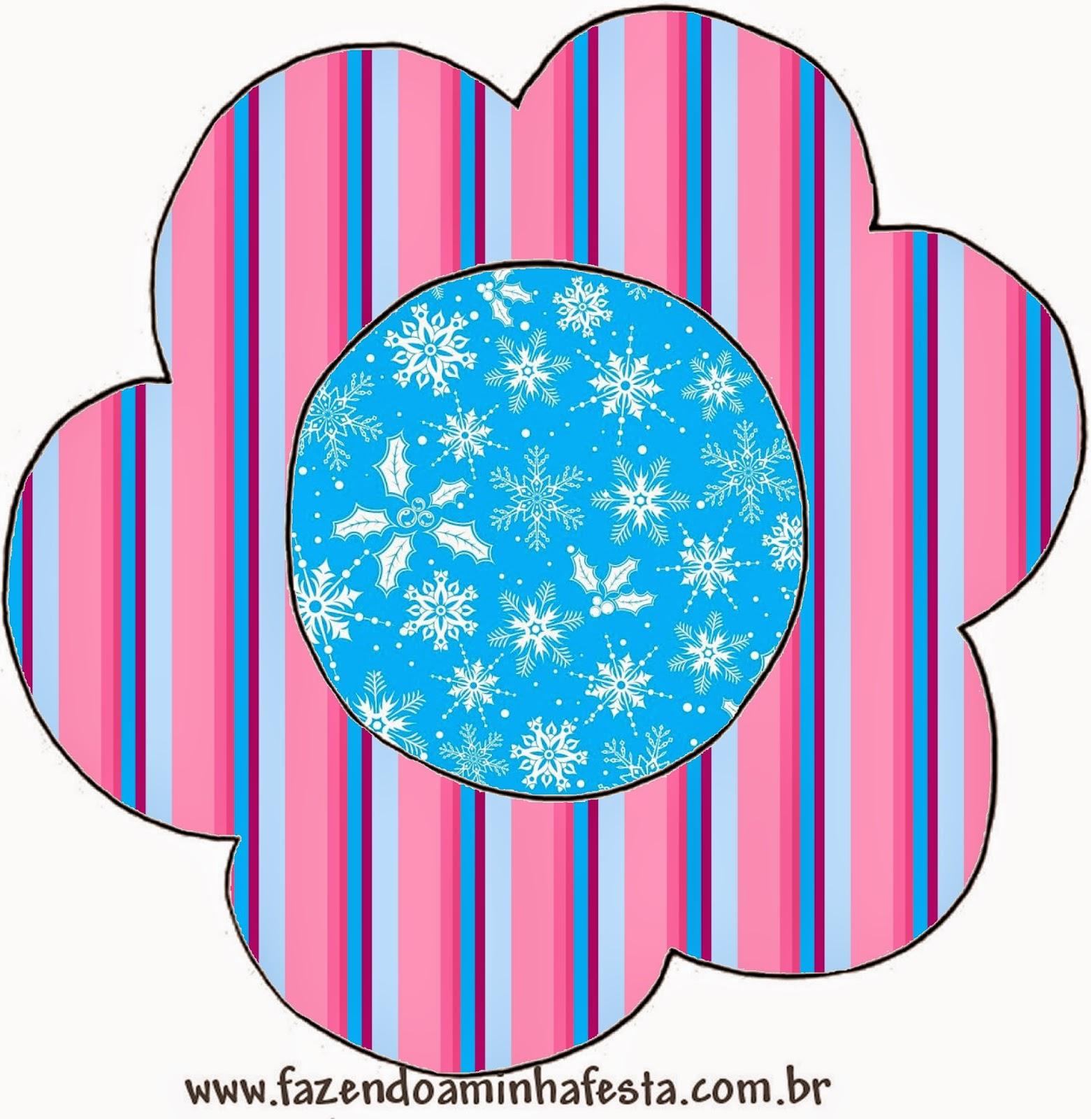 Tarjeta con forma de flor de Frozen en Morado y Celeste para Navidad.