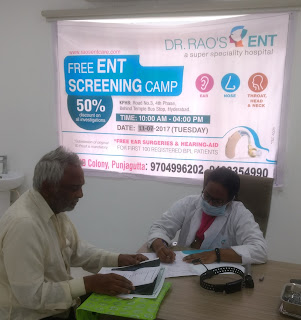 Senior Citizens benefiting from free screening at Dr. Rao's ENT Hospital