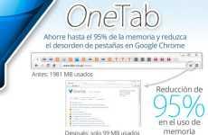 OneTab: extensión para Chrome que permite ordenar las pestañas abiertas del navegador y ahorrar memoria