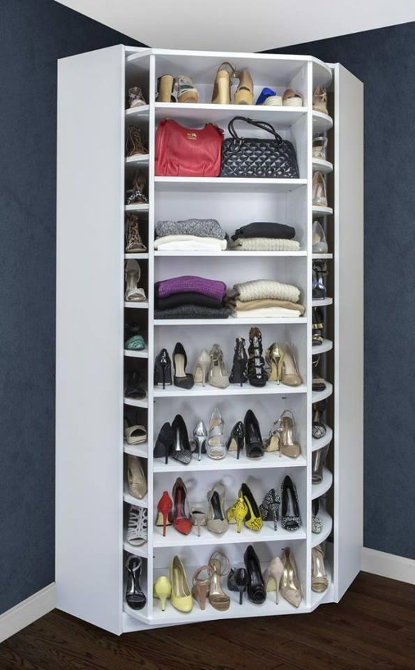 Mueble giratorio para zapatos construccion y for Mueble organizador de 9 cubos