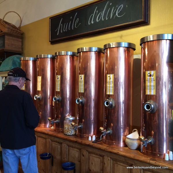 olive oil dispensers at Olivier Napa Valley in St. Helena, California