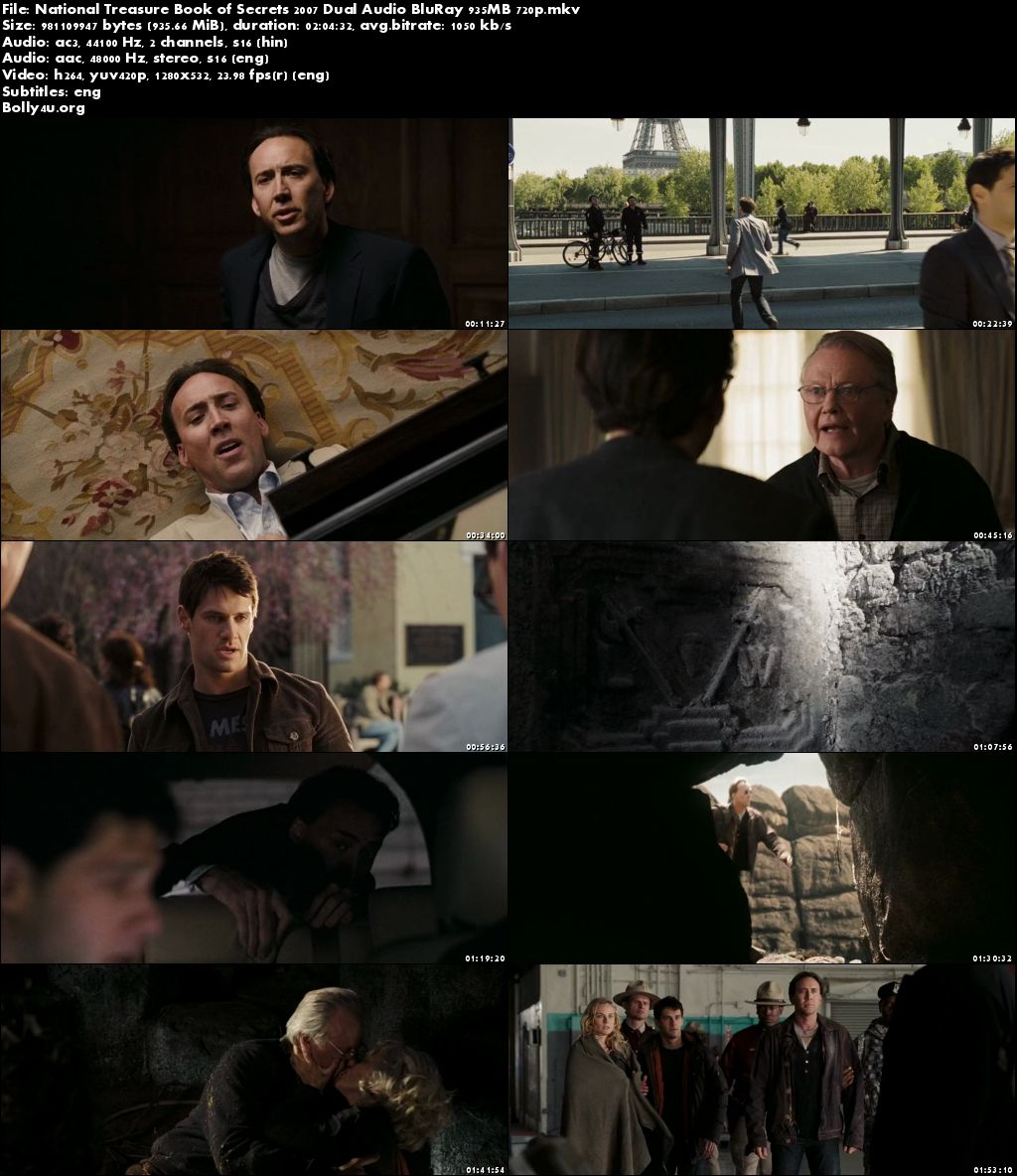 National Treasure Book of Secrets 2007 BRRip 900Mb Hindi Dual Audio 720p Download