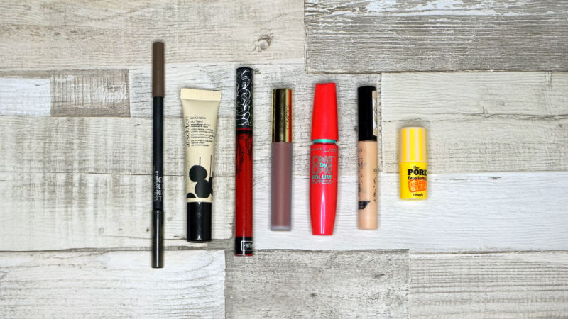 brow pencil, tinted moisturiser, liquid lipsticks, mascara, concealer, blotting stick.