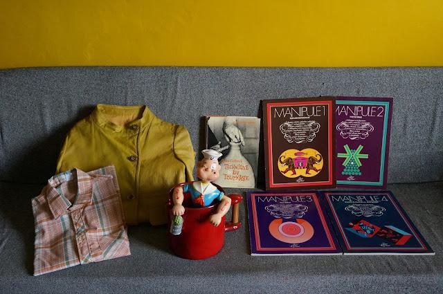 leather chartreuse coat manteau cuir vert 70s plaid shirt popeye plastiaue soufflé blow moulded design graphic book ceramique clourier R J 1970s 60s 1960s