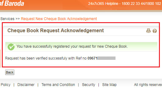 how to request cheque book in bank of baroda online