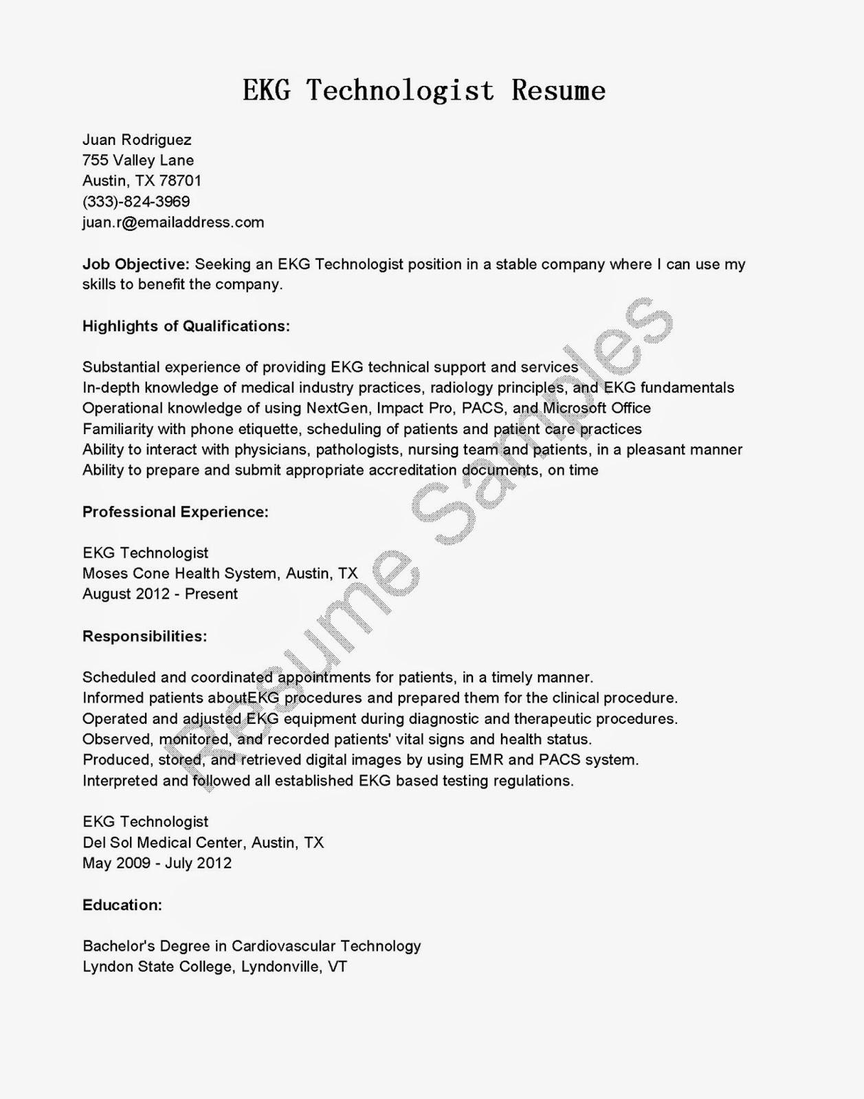 Resume Samples Ekg Technologist Sample