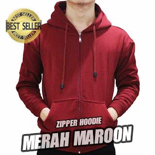 hoodie ZIPPER polos MARUN MAROON