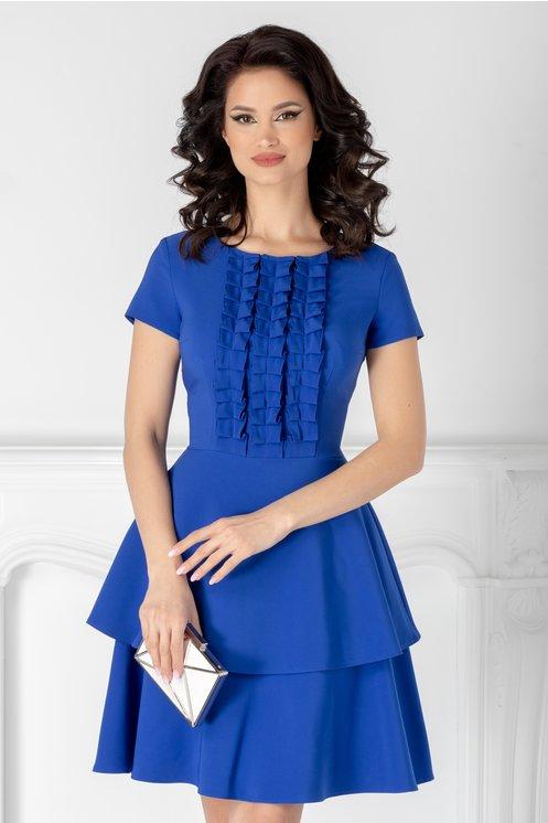 rochie albastra eleganta  volane la baza  volane la bust  croi clos