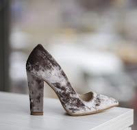 pantofi de ocazii cu toc gros din piele intoarsa