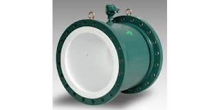 magnetic flowmeter flow meter on large flanged lined pipe section