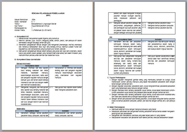 RPP Kelas 5 Semester 1 Kurikulum 2013 Revisi