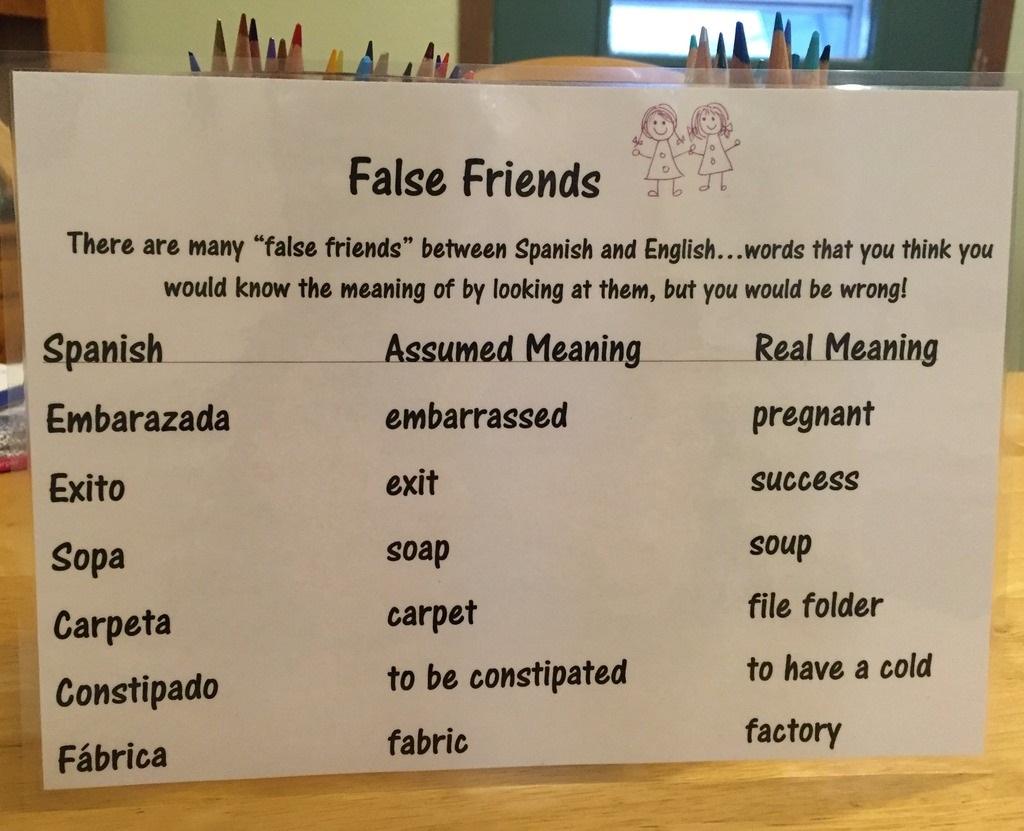 Debbie S Spanish Learning False Cognates In Language Learning