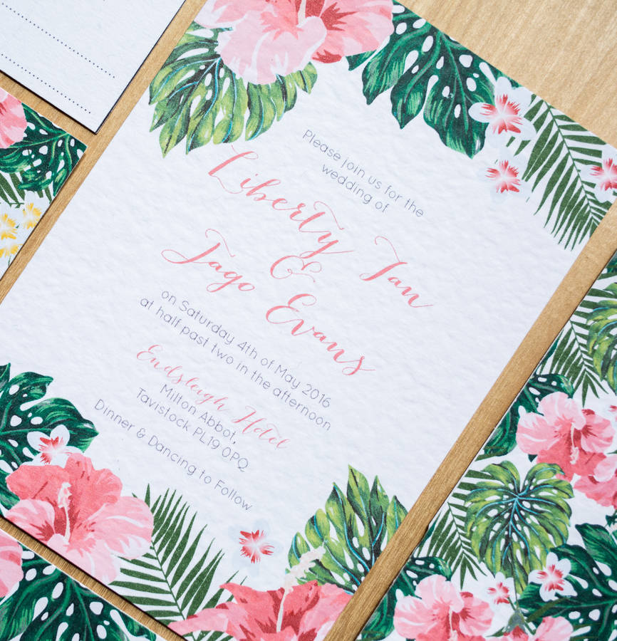 beyond the aisle: paper chase: tropical wedding and party invitations