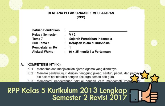 RPP Kelas 5 Kurikulum 2013 Lengkap Semester 2 Revisi 2017