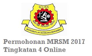 Permohonan MRSM Tingkatan 4 2017