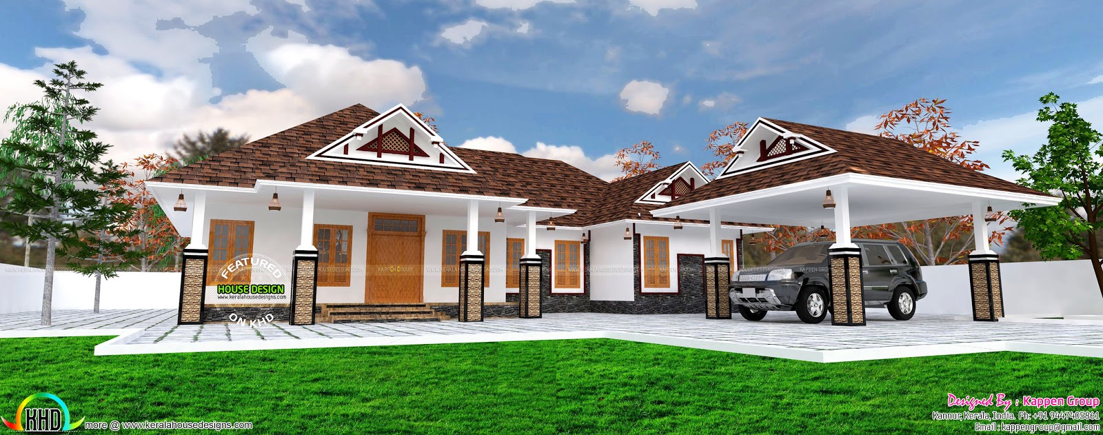 single floor house with separate porch kerala home design and