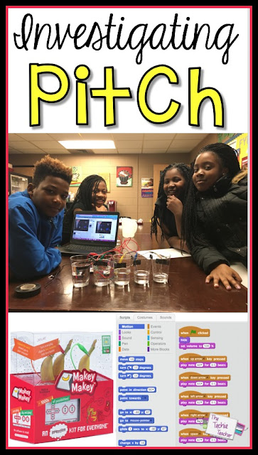 Students investigate pitch during their sound unit using Scratch and a MaKey-MaKey.