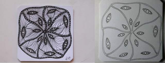 Before and After Shading Yuma Zentangle