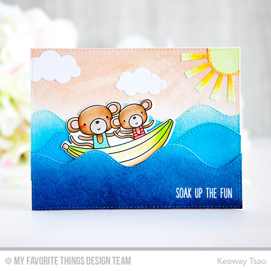 Handmade card from Keeway Tsao featuring Soak Up the Fun Stamp Set and Die-namics, Stitched Whimsical Waves, Puffy Clouds, and Sunny Skies Die-namics #mftstamps