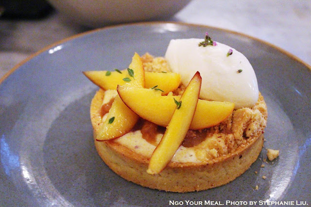 Peaches, Polenta, Lemon Thyme Ice Cream at Ellsworth in Paris