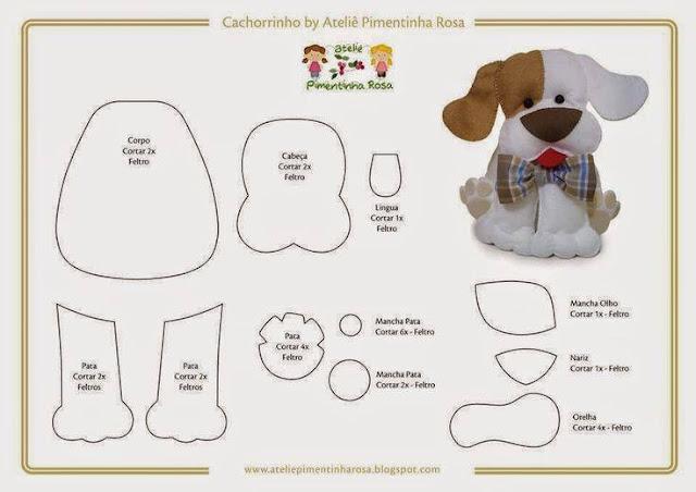 moldes de cachorro em feltro para imprimir como fazer