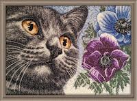 машинная вышивка кошки