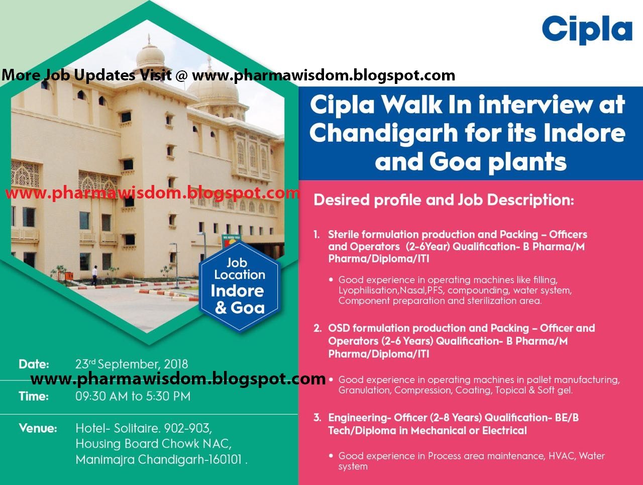 Cipla - Walk-Ins on 23rd Sept' 2018 for Production / Packing