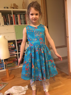blue butterfly party dress front view