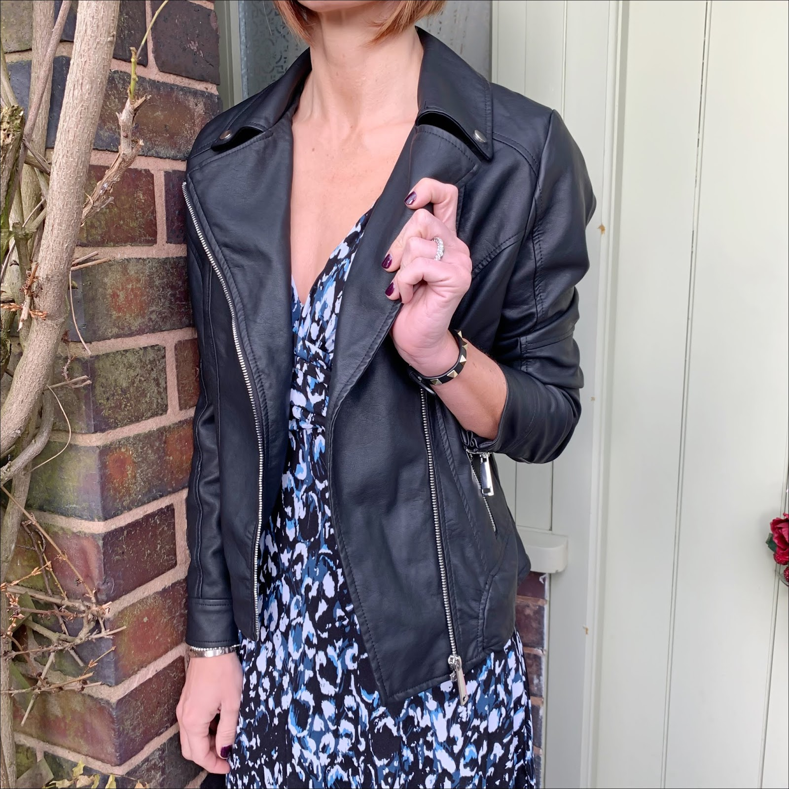 my midlife fashion, jd williams, jd williams black faux leather biker jacket, jd williams blue/black leopard print wrap dress