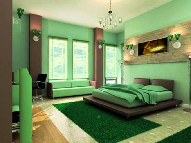 paint colors for bedroom with green carpet