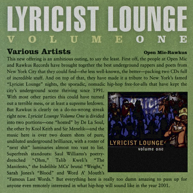 Lyricist Lounge Volume 1 Album Review CMJ