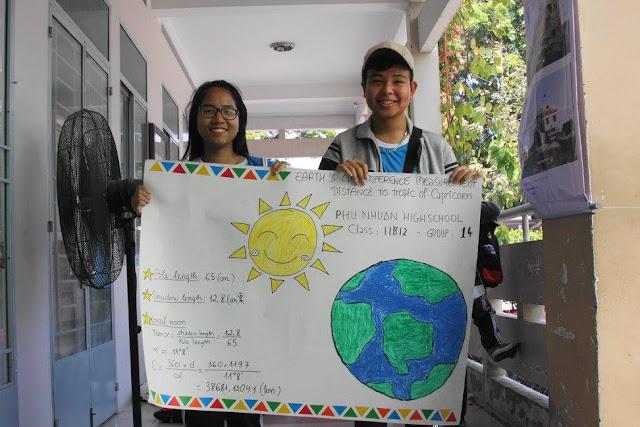 Kết quả đo đạc chu vi Trái Đất của lớp 11A12.
