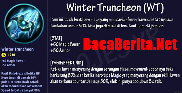 Fungsi item  mage Winter Truncheon mobile legend
