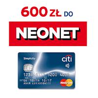 voucher 600 zł do neonet.pl za kartę Citi Simplicity