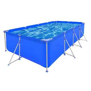 New Above Ground Swimming Pool Steel Frame Rectangular 394x207x80cm £147.99 end today