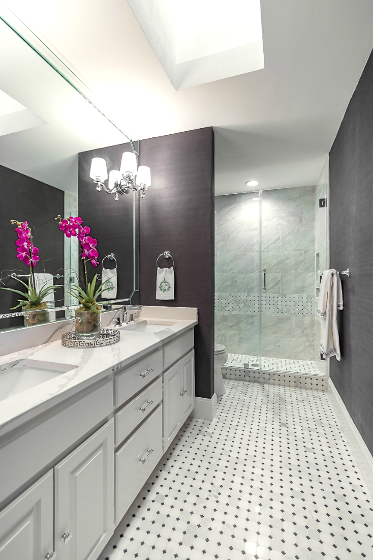 Cute Gorgeous bathroom makeover with dark walls