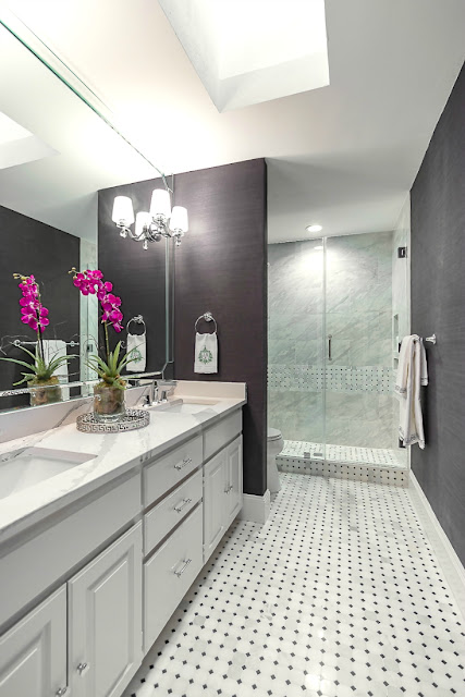 Gorgeous bathroom makeover with dark walls