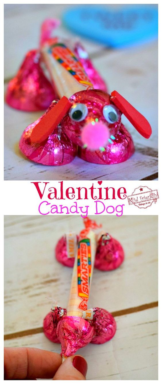 Valentine's Candy Dog for a Fun Kid's Craft and Treat
