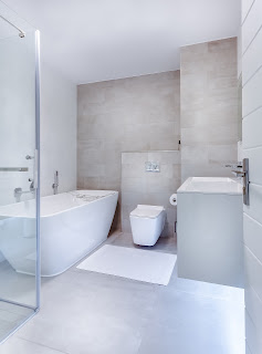 clean white bathroom in minimalist style