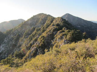 View west toward Occidental Peak with San Gabriel Peak on the right