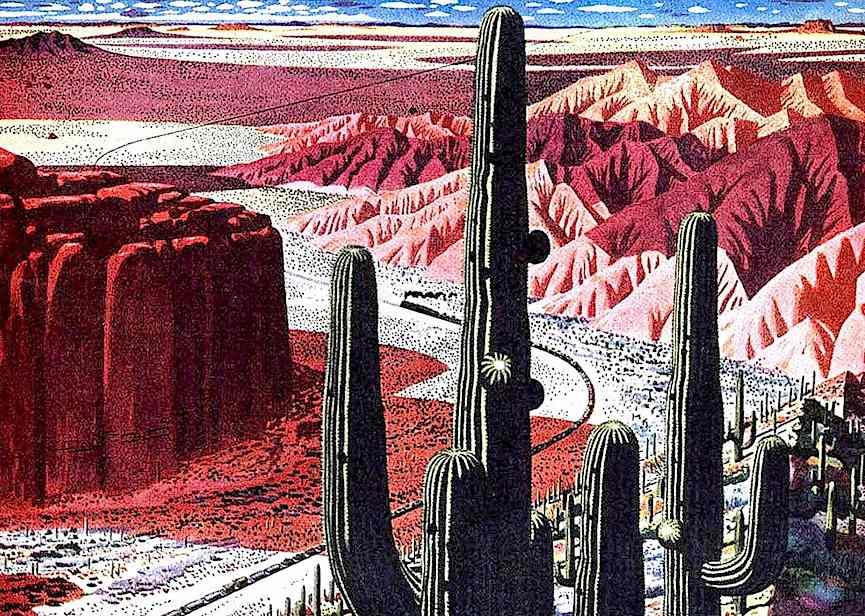 desert train color illustration