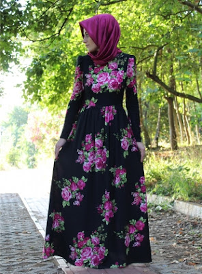 Top 5 Model Long Dress Muslimah Motif Bunga Terbaru 2016