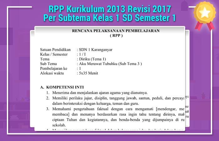 RPP Kurikulum 2013 Revisi 2017 Per Subtema