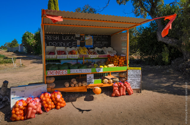 Fresh fruit and vegetables stall from the local farm near Waikerie
