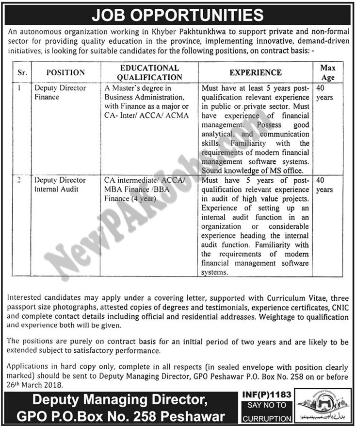 Public Sector Organization Khyber Pakhtunkhwa New Jobs 2018