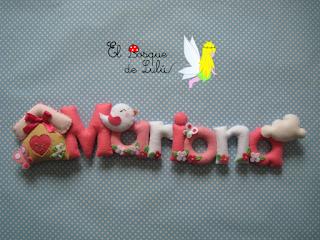 nombre-fieltro-Mariona-regalo-nacimiento-decoración-infantil-felt-feltro-elbosquedelulu-guirnalda-name-banner