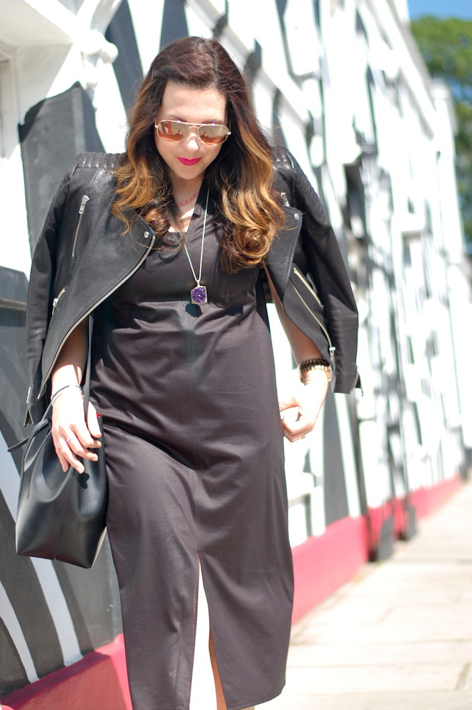 An outfit post featuring a Helmut Lang midi dress, H&M Icons jacket and a Mansur Gavriel bucket bag by Vancouver blogger Aleesha Harris of Covet and Acquire.